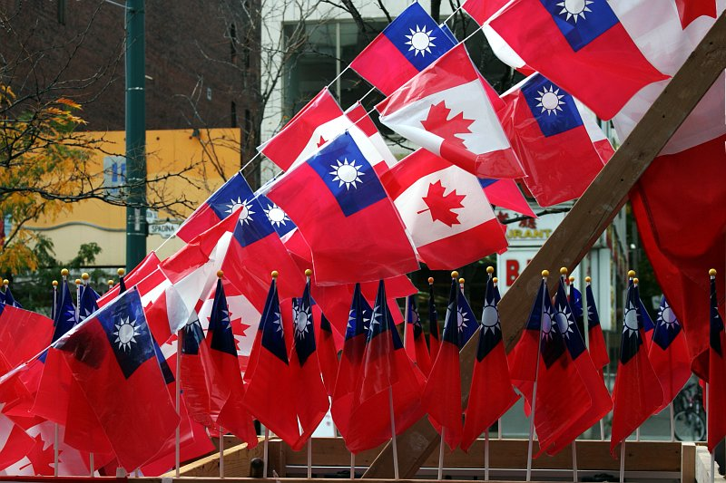 Toronto Chinatown parade flags    (click for previous picture)