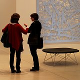 Talking in one of the new Gehry designed galleries