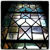One of the old leaded glass windows at the ROM